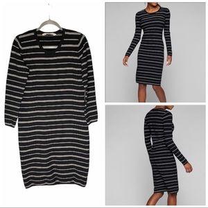Athleta Stripe Black White Sweater Dress Size L